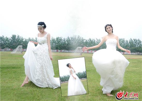 齐鲁理工学院一女生宿舍室友六人穿婚纱 结婚
