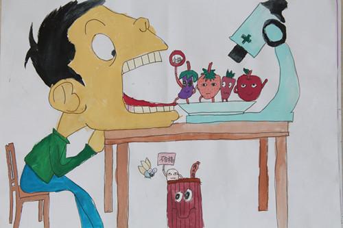 """大正小学举办""""食品安全与a小学""""漫画展德莱尼漫画图片"""